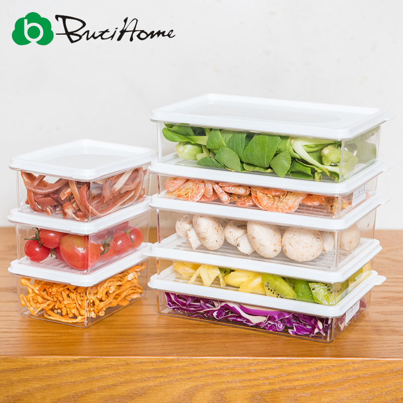 Butihome Food Storage Boxes Superimposed Transparent Fruits and Vegetables Crisper Kitchen Refrigerator Sealed Storage Box