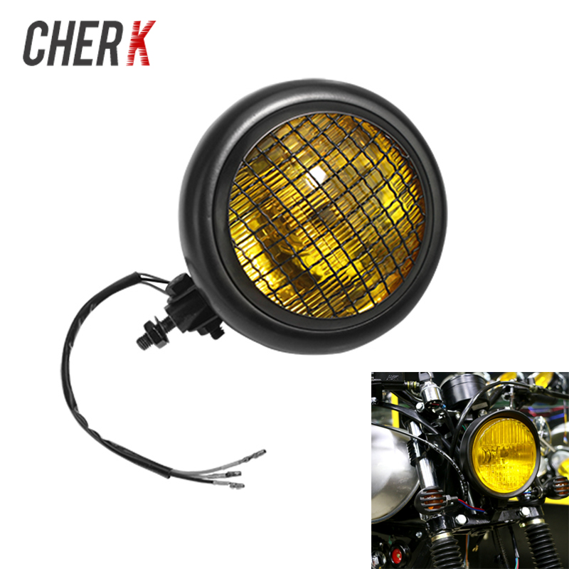Cherk Moto phare 35 W lampe à tête ronde pour Choppers Harley Cafe Racer universel Moto phare avant ampoule
