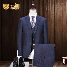 Latest Coat Pant Designs Navy Blue Pattern Tweed Men Suit Slim Fit 3 Piece Suits Groom Tuxedo Custom Prom Blazer Terno Masculino