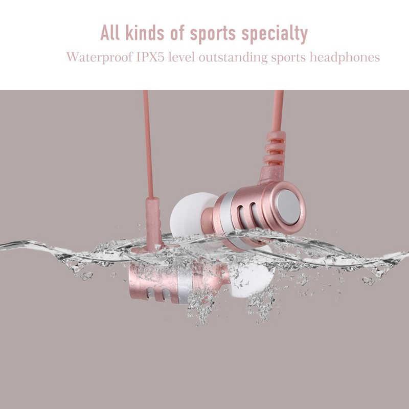 IPX5 wodoodporna Bluetooth słuchawki bezprzewodowe podwójna bateria Bluetooth słuchawki Stereo Bass z pałąkiem na kark Sport magnetyczny z mikrofonem