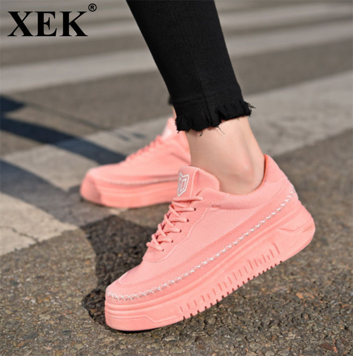 XEK Genuine Leather Women Sneakers Fashion Pink Shoes for Women Lace up White Shoes Creepers Platform Shoes ZLL59 women creepers shoes 2015 summer breathable white gauze hollow platform shoes women fashion sandals x525 50
