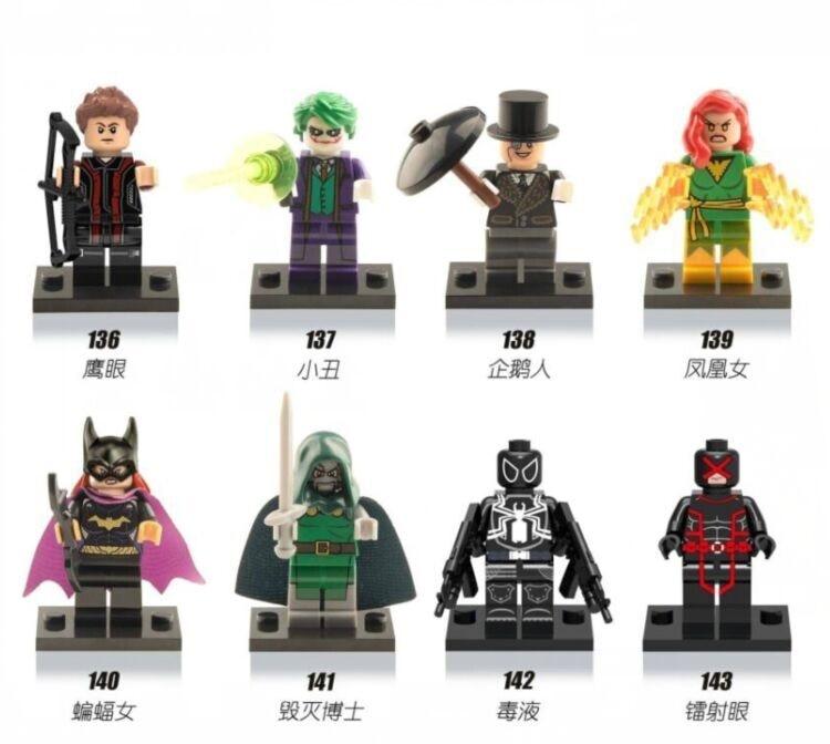 Super Heroes Penguin Hawkeye Venom Cyclops Doctor Doom Catwoman Building Blocks Figures For Children Gift Toys X0106