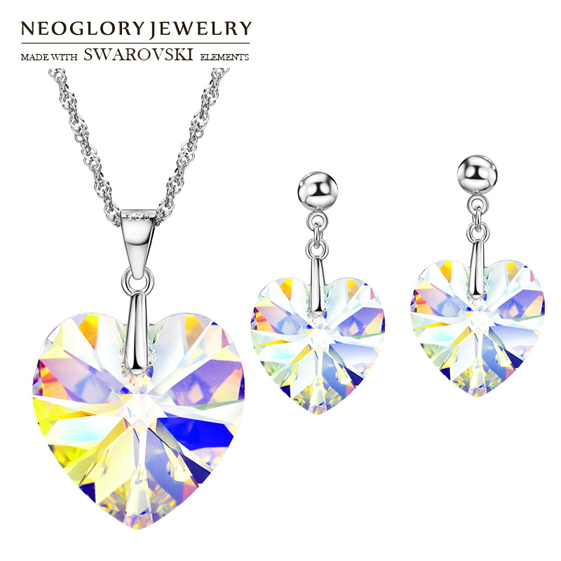 Neoglory MADE WITH SWAROVSKI ELEMENTS Crystal Jewelry Set Romantic Heart Design S925 Silver Plated Party Necklace & Earrings цены