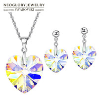 Neoglory MADE WITH SWAROVSKI ELEMENTS Crystal Jewelry Set Romantic Heart Design S925 Silver Plated Party Necklace