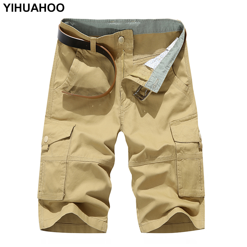 YIHUAHOO Summer Shorts Men Knee Length Solid Color Cotton Bermuda Short Pants Casual Military Pocket Cargo Shorts MGND-1606S