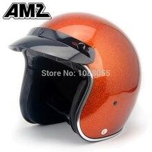 Amz open face casco de la motocicleta/increíble para halley moda vintage fresco popular jet fibra de vidrio casco aprobado por el dot