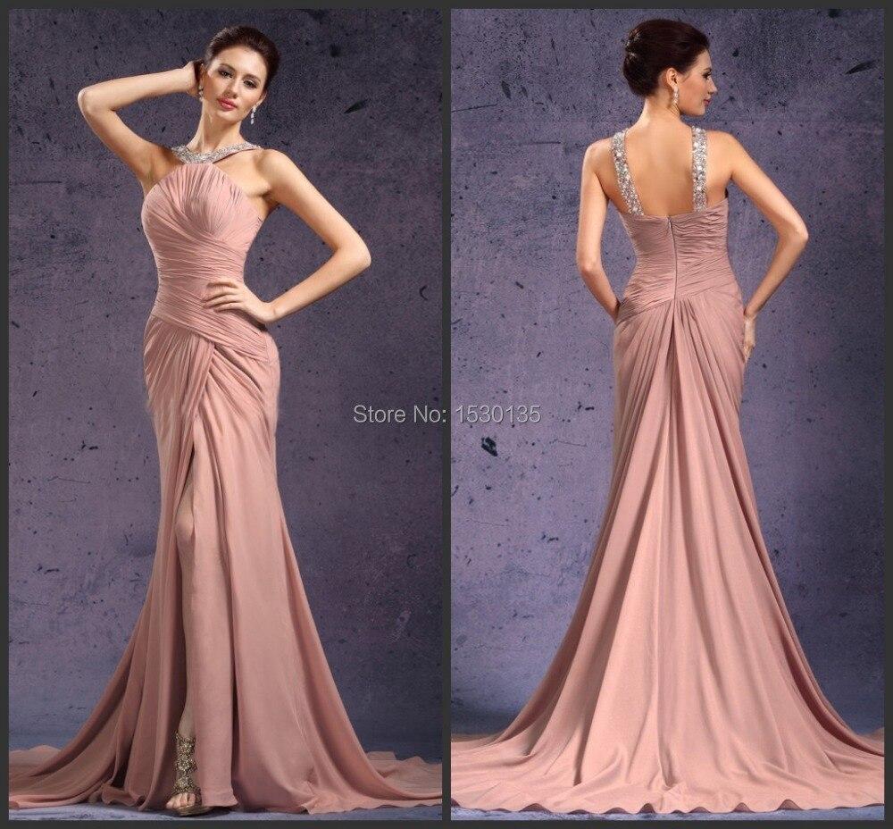Impresionante Halter plisado del tren largo Pink baile vestido ...
