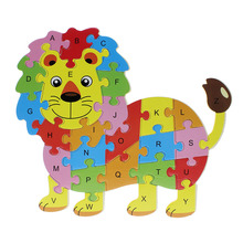 2016 Hot Wooden Animals Kids Baby Early Educational Alphabet Puzzle Cartoon Hippo Lion Butterfly Owl Elephant Brain Game Toys