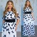Продажа Платье Новый 2017 Летняя Мода Полые Элегантный Печати Party Dress Высокое Качество Плюс Размер Женщин Одежда Повседневные Платья