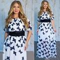 Sale Vestido New 2017 Summer Fashion Hollow Elegant Print Party Dress High Quality Plus Size Women Clothing Casual Dresses