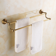 купить Antique Brass Towel Holder Bronze Brass Wall Mounted Kitchen Bathroom Double Towel Bar Holder Rack ZD918 недорого