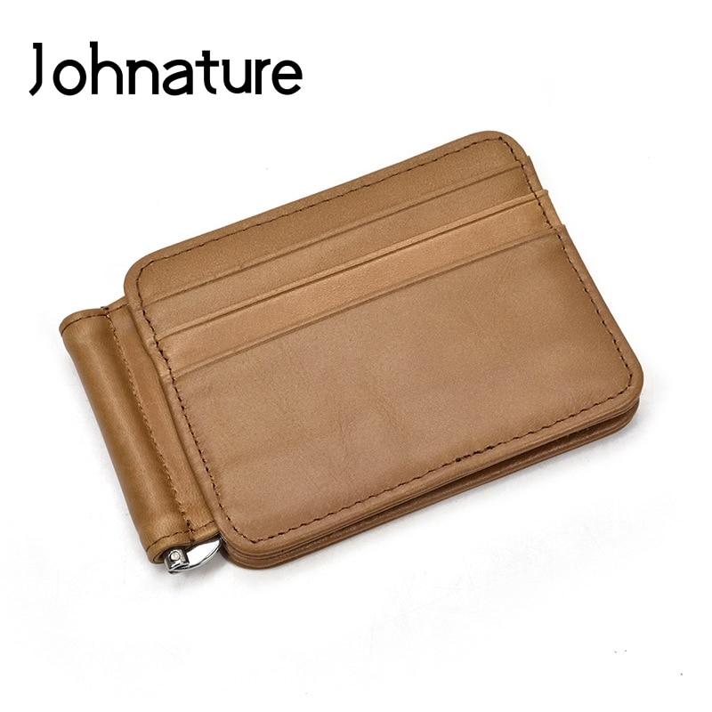 Men Women Genuine Leather Cowhide Wallet Trifold Credit Card Holder Retro Purse