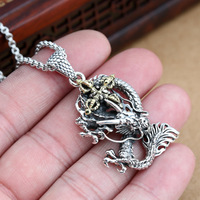 S925 Pure Silver Jewelry Factory Thai Silver Restoring Ancient Ways Men Domineering Dragon Vajra Multiplier Pendant