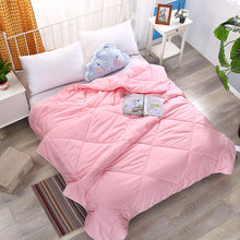 New Hot 100% Cotton comforters solid pink quilt twin queen king size bedding spring autumn soft duvet High Quality Home textile(China)