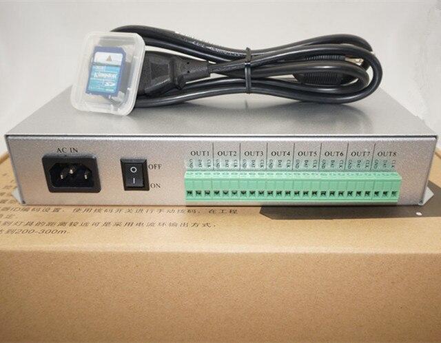 T 300K T300K SD Card on line TRAMITE PC RGB di colore Completo ha condotto il regolatore modulo 8 porte 8192 pixel ws2811 ws2801 ws2812b ha condotto la striscia