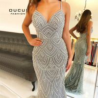 Newest Dubai Luxury Sexy Sleeveless Mermaid Evening Gowns 2019 Diamond Beading Gray Women Dresses Long Party Prom Dress OL103369