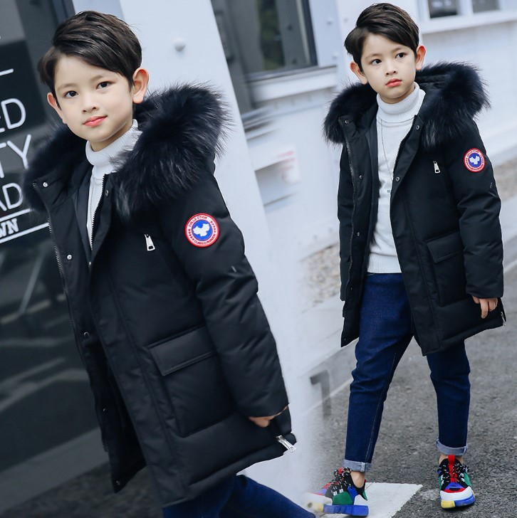 Boys down jacket 2018 winter new children's long thick Korean version of the baby hooded casual children's jacke winter down top jacke