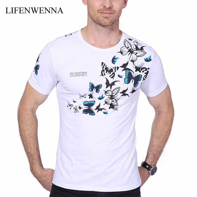 abeafd14 US $14.8 5% OFF 2019 Summer New Fashion Brand Men's T shirt Chinese Style  Butterfly Print T Shirt Men Short Sleeve Casual Mens T Shirt 5XL 6XL-in ...