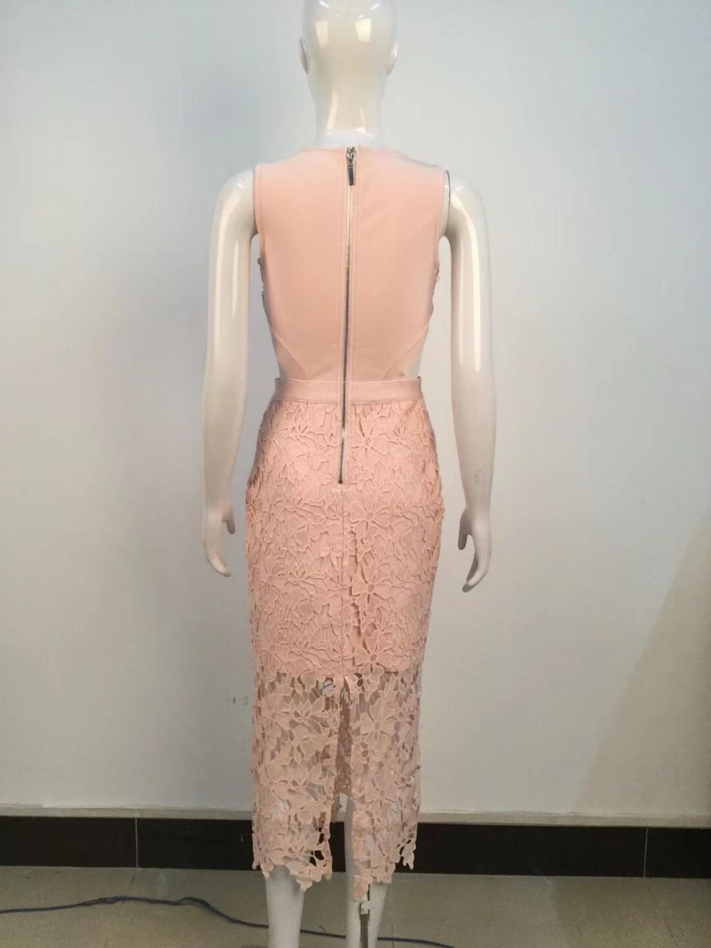 Robes Arrivée Keyhole Dos Moulante Nouvelle 2018 Rose Robe Éclair Party Fermeture Bandage En Gros Femmes Celebrity xgqHw1gOB