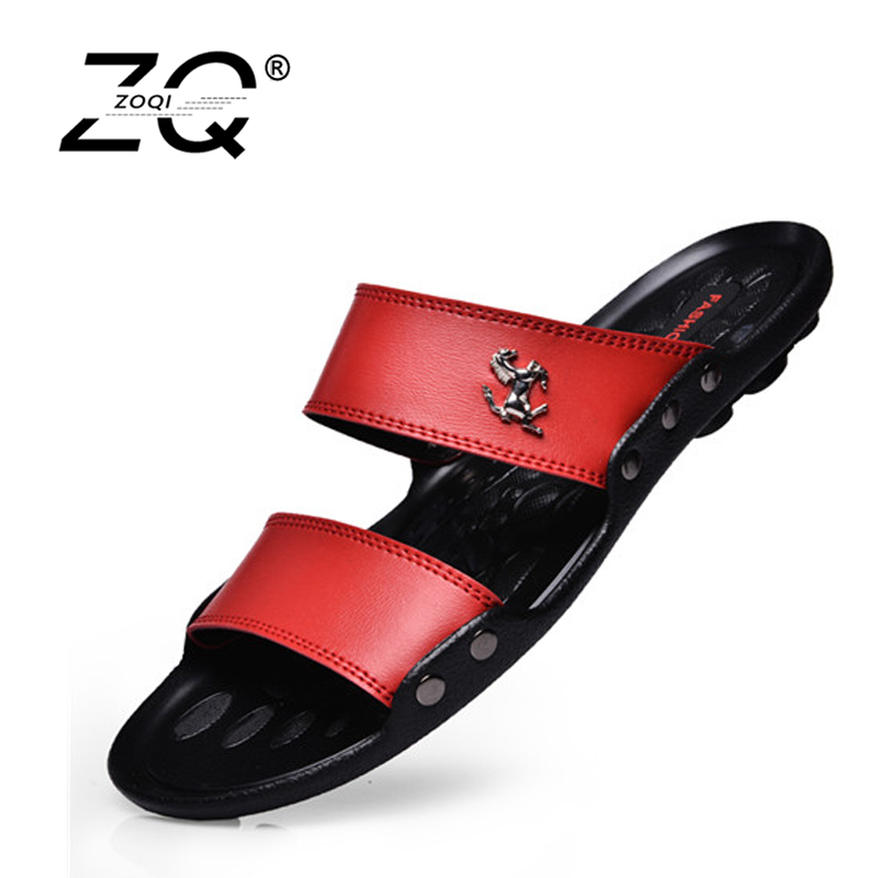 Hot Sale Sandals Men Shoes Summer Slippers Men PU Leather Sandals Black Beach Slippers 2017 Sandalias Hombre Zapatos Hombre dreamshining female summer fruit sandals party sandals beach slippers sandalias watermelon orange pitaya kiwi