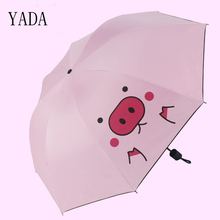 YADA Custom Charms Cartoon Pig Folding Umbrella Rain Women uv High Quality For Womens brand Windproof Umbrellas YS264