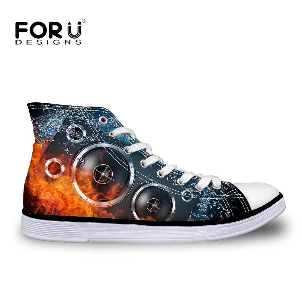 FORUDESIGNS Cool Fire Fashion Design Canvas Shoes for Men Spring 3D Sound Prints Classic High Top Vulcanized Shoes Lace up Flats