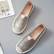 Women Loafers Paillette Spring Flat Shoes Ladies Sequin Fisherman Casual Shoes Lightweight Breathable Golden Loafers Lazy Flats цены онлайн