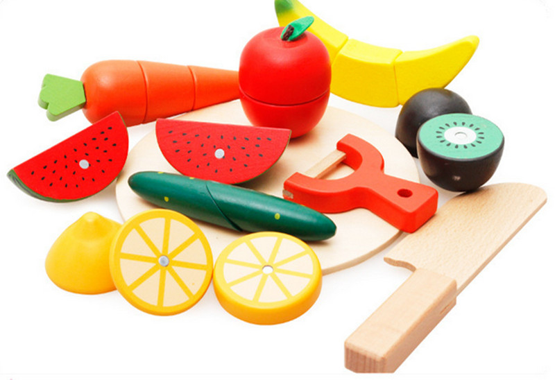New wooden toy wooden blocks Fruits and Vegetagle Cutting baby simulation toy baby educational toy baby gift Free shipping