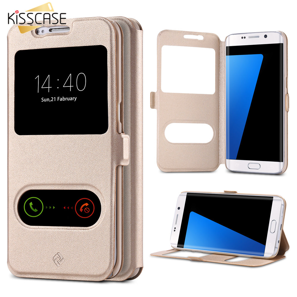 KISSCASE For IPhone 6 6s/Plus PU Leather Flip Case For Samsung Galaxy S7 S6 Edge Window