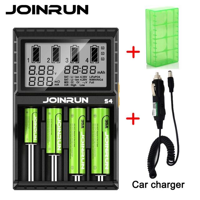 Joinrun S4 18650 Thông Minh Battery Charger Cho 18650 14500 16340 26650 Ni Mh AAA AA Thông Minh Li Ion Pin Sạc với Pin trường hợp