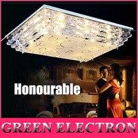 JH Modern LED Rectangle Ceiling Lights Living Room Restaurant Crystal Light LED Lighting Fixtures Indoor Decoration
