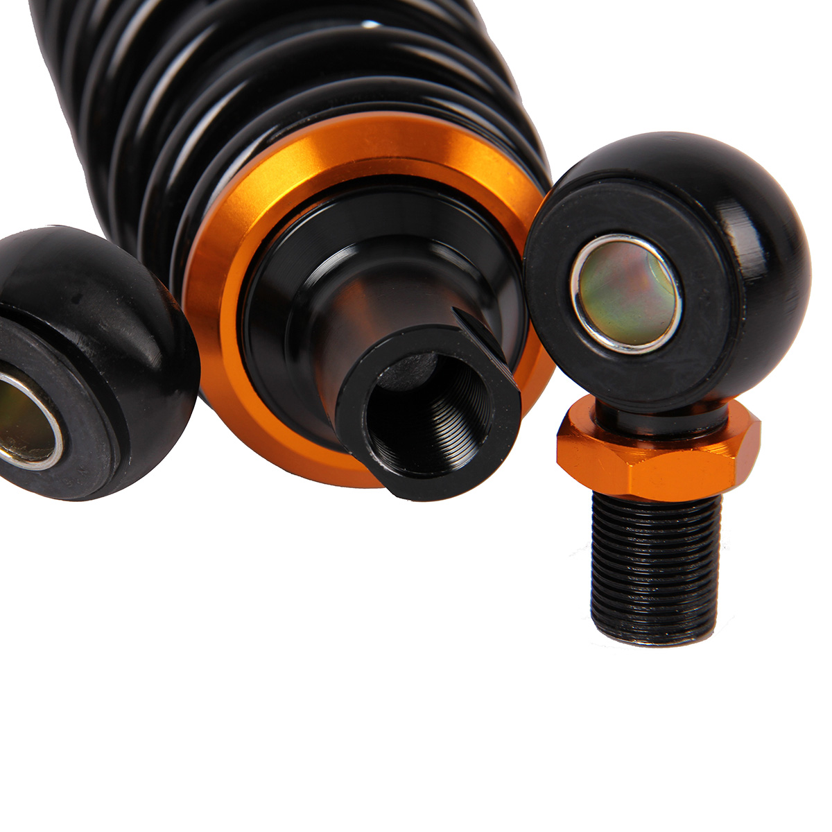 POSSBAY Universal 320mm Black Motorcycle Dirt Bike Rear Suspension Air Shock Absorber Round Hole/U Type Black Orange