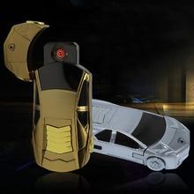 สร้างสรรค์Flameless W Indproofโลหะชาร์จUSBบุหรี่อิเล็กทรอนิกส์เบาเบาในรถรูปร่างด้วยสายUSBกล่องของขวัญ