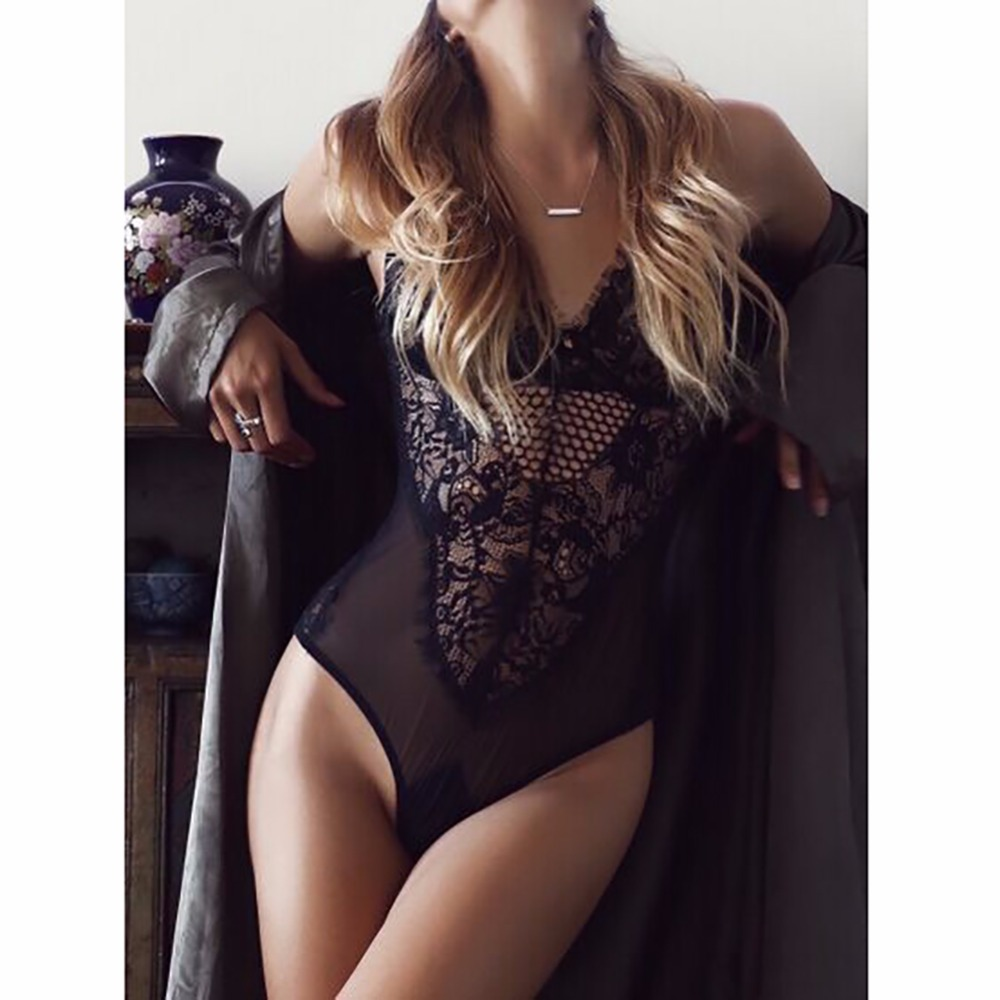 iShine lenceria sexy hot Porn Erotic bodystocking Underwear Hollow Lace Transparent Conjoined Dress costumes Catsuit Teddy
