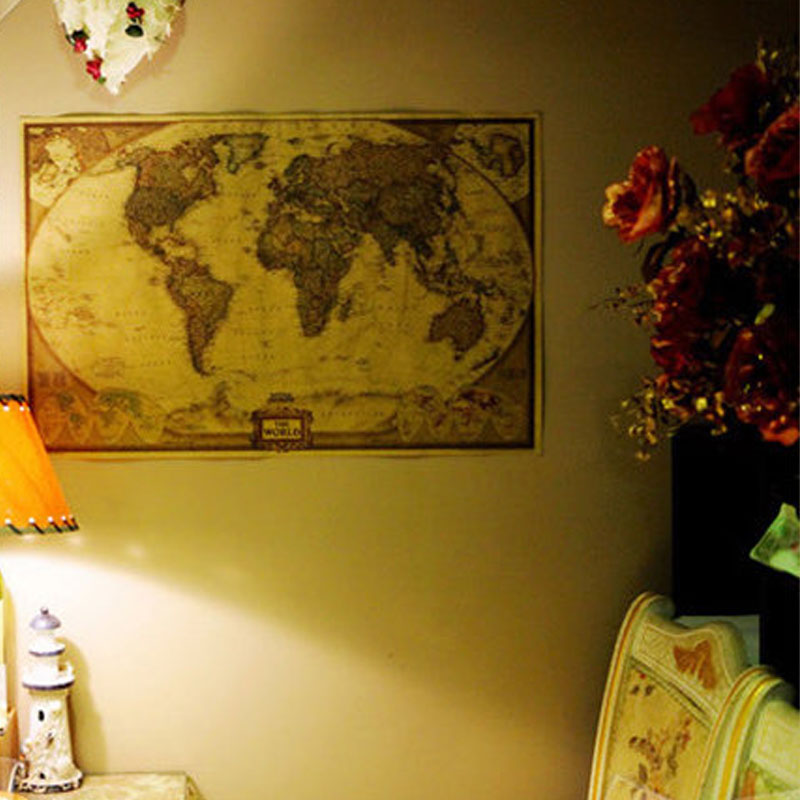 DCTOP World Map Vintage Poster Retro Paper Kraft Wallpaper