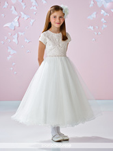 Elegant Little Gir Dress White Tulle Robe De Mariage Short Sleeve Appliques Ankle-length Flower Girl Dresses For Wedding Lace
