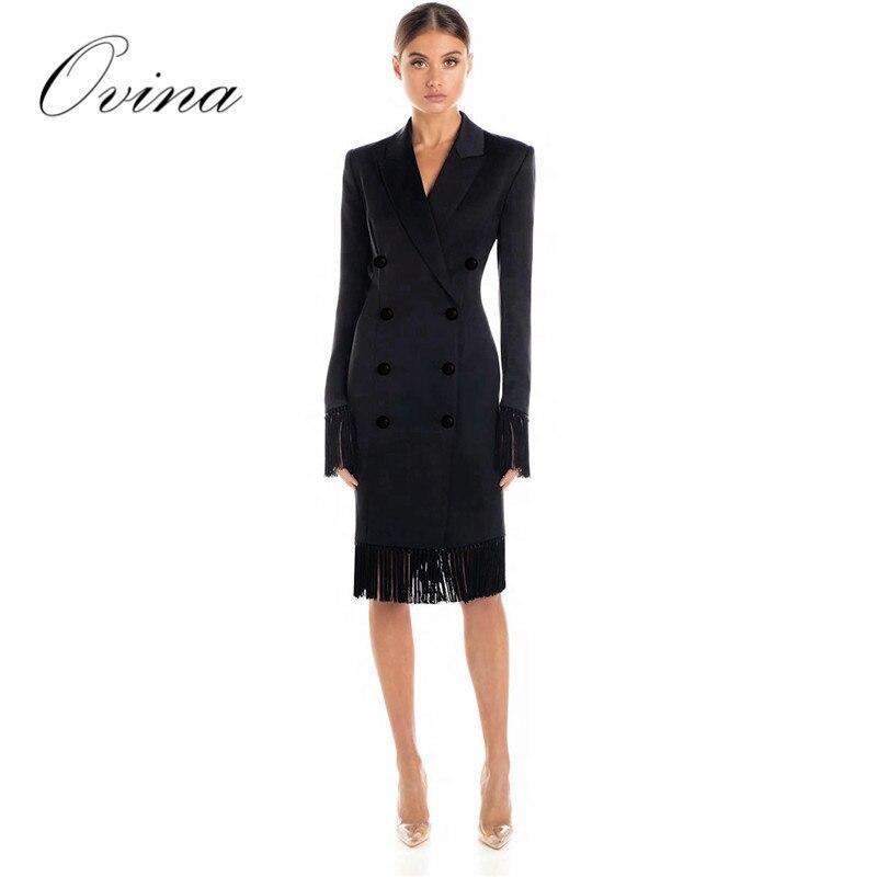 Noir Luruxy col en V gland genou longueur moulante femmes robe Sexy célébrité robe de soirée nouveauté