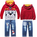 3-7 Age 2016 New Dog Paw Printed Cartoon Set Boys Hoodie Cotton Coat Kids Long-sleeved Hooded Zipper Jacket Coat and Jeans Suit