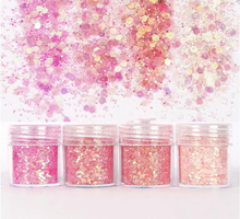 4 in 1 10ml Shiny pink series Nail Glitter Powder Sequins For Art Decoration Gradient set of ultra-fine