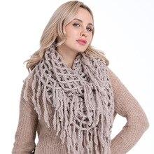 Solid Haak Infinity Sjaal met Kwastjes Zachte Warme Gebreide Sjaals voor Vrouwen Herfst Winter Dikke Circle Loop Sjaal AA10080