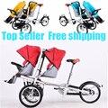 Taga carrinho de bebê mãe de gêmeos duplo triciclo bicicleta