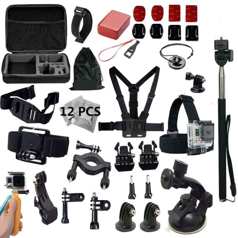 For Xiaomi yi 4k Camera Accessories for GoPro Monopod Chest Head Strap Bike Holder Mount Set For Gopro Hero 4 3 SJCAM SJ4000 bike handle bar mount holder for camera dv gopro hero 4 3 3 2 1 sj4000 black