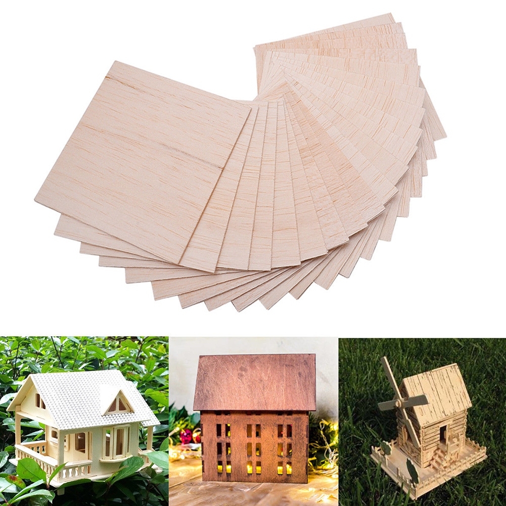 20pcs Military Balsa Plate House Paint Mark Aircraft Sculpture Lightweight DIY Model Sand Table Hobby Ship Wood Sheet