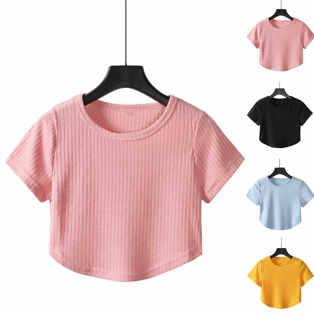 Women's Casual Solid Color Blue Black Pink Short Sleeve O Neck Top Tops Mini T-Shirt Brief Summer Female Girl Shirts Tees Camisa