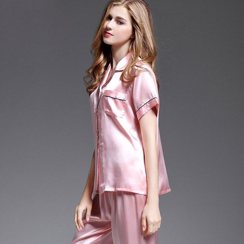100% Real Silk Pajamas Set 2020 Women Pyjama Femme 2 Pieces Pure Silk Sleepwear Suits Tops+Pants Silk Pijama Home Suits