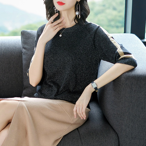 Image 5 - YISU suéter de primavera para mujer, jersey de manga corta, suéteres de Seda brillante a la moda, Tops finos de cuello redondo, suéteres de punto para mujer 2019