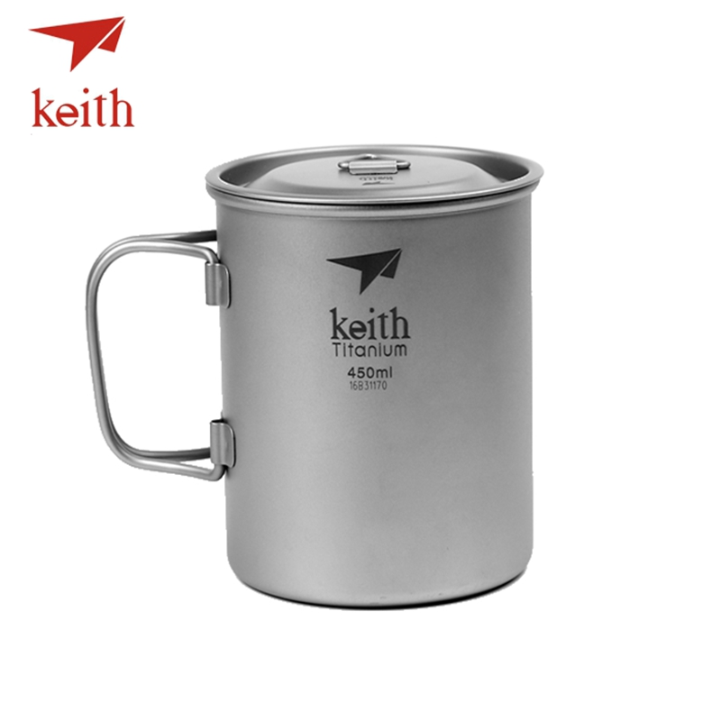 Keith Outdoor Titanium Water Cups Camping Hiking Utensils Travel Mug Folding Handle Ultralight Tableware 450 500 500 650 900ml keith double wall titanium beer mugs insulation drinkware outdoor camping coffee cups ultralight travel mug 320ml 98g ti9221