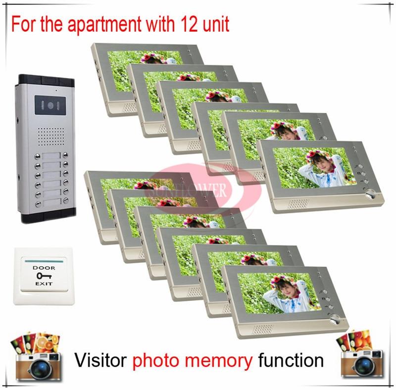 Eleven / 12 Units Apartment Building Color Video Door Phone Intercom Visitor Photo Memory ( Also support SD card photo storage) eleven paris футболка