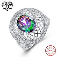 J.C Oval Cut Mystic Fire Rainbow & Tanzanite White Topaz 925 Sterling Silver Ring Size 6 7 8 9 Women Fashion Party Fine Jewelry
