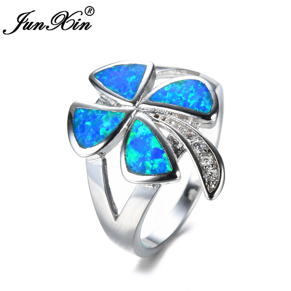 junxin female girls clover ring blue fire opal ring 925 sterling silver filled fashion jewelry vintage wedding rings for women